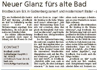 Badsanierung Stuttgart Sanitär Brodbeck am Eck